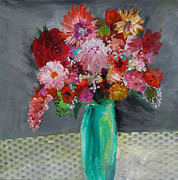 Vase Of Flowers Posters - Flowers in a Green Vase Poster by Marilyn Woods