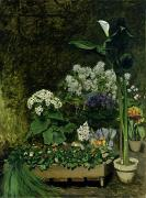 Plants Painting Prints - Flowers in a Greenhouse Print by Pierre Auguste Renoir