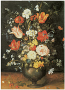 Vase Of Flowers Posters - Flowers in a Metal Vase Poster by Jan Brueghel The Younger