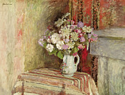 Interior Still Life Painting Metal Prints - Flowers in a Vase Metal Print by Edouard Vuillard