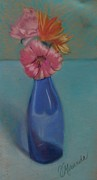 Wine-bottle Pastels - Flowers in a Vase by Virginia Miranda