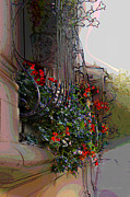 Red Geraniums Digital Art Posters - Flowers in a Window Box Poster by Jan Lowe
