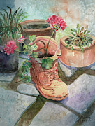 Geranium Paintings - Flowers In A Work Boot Planter by Arline Wagner
