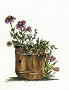 Barrel Paintings - Flowers in Barrel by Shari Nees