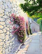 Walkway Digital Art Originals - Flowers In Capri by Eduardo De La Maria