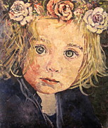 Toddler Portrait Paintings - Flowers in her hair by Pamela A Fox