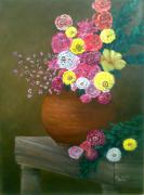Assorted Originals - Flowers in Pottery by Jo Mari Montesa