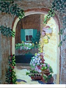 Flowers In Stone Doorway Print by Jeanene Miller