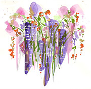 Flood Drawings Prints - Flowers In The City Print by Darlene Flood