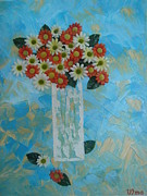 Gallary Posters - Flowers In Vase Poster by Modern  Palette Art