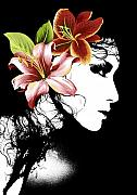 Fashion Face Digital Art Posters - Flowers it is my lady Poster by Ramneek Narang