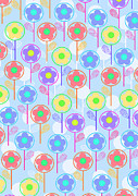 Motif Digital Art Prints - Flowers Print by Louisa Knight