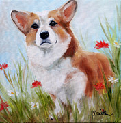 Corgi Dog Portrait Posters - Flowers Poster by Mary Sparrow Smith