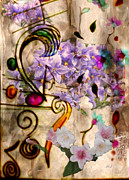 Jan Steadman-jackson Prints - Flowers n Music Print by Jan Steadman-Jackson
