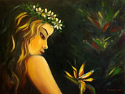 Posters Of Nudes Paintings - Flowers of Paradise by Gina De Gorna