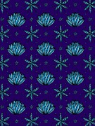 Colored Background Art - Flowers On A Dark Purple Background by Lana Sundman