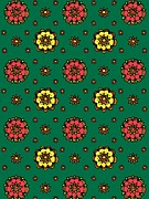 Colored Background Art - Flowers On A Green Background by Lana Sundman