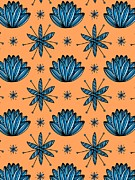 Colored Background Art - Flowers On A Peach Background by Lana Sundman