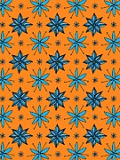 Colored Background Art - Flowers On An Orange Background by Lana Sundman