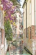 Canals Drawings Framed Prints - Flowers on Canal in Venice Colored Pencil Framed Print by Michael Henderson