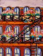 Brick Drawings Metal Prints - Flowers on Fire Escape Metal Print by John  Williams