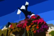 Colorful Art Digital Art - Flowers on lamppost by David Lee Thompson
