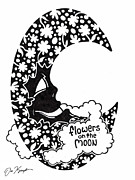 Cartoon Drawings Originals - Flowers on the Moon by Dan Keough
