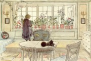Little Girl Framed Prints - Flowers on the Windowsill Framed Print by Carl Larsson