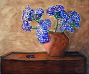 Fiber Art Paintings - Flowers on Wooden Chest by Linda Marcille