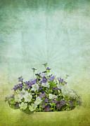 Flowers Pattern On Old Grunge Paper Print by Setsiri Silapasuwanchai