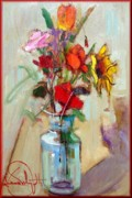 Portofino Italy Artist Paintings - Flowers by Pelagatti