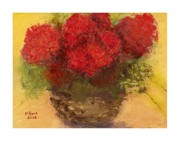 Red Geraniums Mixed Media Prints - Flowers Red Print by Marlene Book