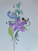 Signed Mixed Media - Flowers  by Robert Tarzwell