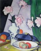 Blue And White Painting Prints - Flowers Print by Samuel John Peploe