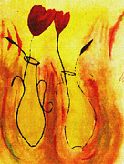 Oil Lamp Drawings Prints - Flowers Print by Sanjay Avasarala