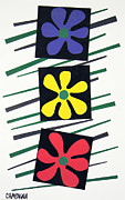 Cut Paper Tapestries - Textiles Framed Prints - Flowers Three Framed Print by Teddy Campagna