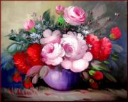 Boats In Water Paintings - Flowers by Virginio Cicala