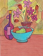 Fruit And Wine Paintings - Flowers Wine and Fruit  by Ray Ratzlaff