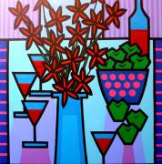 Wine Gallery Art Paintings - Flowers Wine Apples by John  Nolan