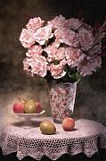 Peaches Metal Prints - Flowers With Fruit Still Life Metal Print by Tom Mc Nemar