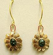 Gold Earrings Art - Flowers with green dichroic glass by Cydney Morel-Corton