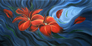 Flower Photographs Painting Prints - Flowing Flowers 4 Print by Uma Devi
