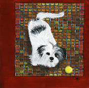 Tennis Painting Posters - Fluffy the Fluffmeister Poster by Debbie Brown