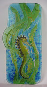 Seahorse Glass Art - Fluid Sea by Michelle Rial