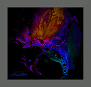 Fluidism Abstract Art Mixed Media Prints - FLUIDISM Aspect 601-B Frame Print by Robert G Kernodle