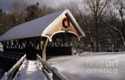 Snow-covered Landscape Photo Prints - Flume Covered Bridge - Lincoln New Hampshire USA Print by Erin Paul Donovan