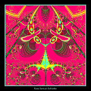 Fluorescent Alien Lady Bug Fractal 70 Print by Rose Santuci-Sofranko