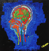 Lisa Kramer Mixed Media - Fluorescent Brain N Bloom by Lisa Kramer