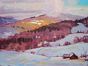 Lit Painting Originals - Flurries Over Pawnel by Len Stomski
