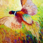 Blue Paintings - Flushed - Pheasant by Marion Rose